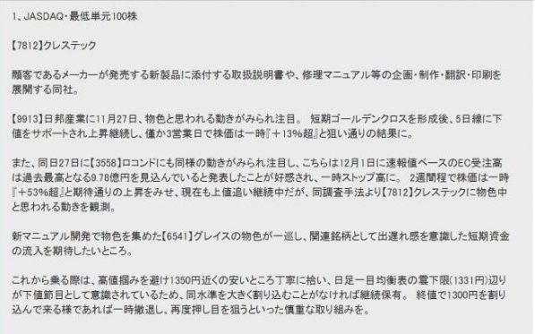 株マイスター 評判 クレステック(7812)