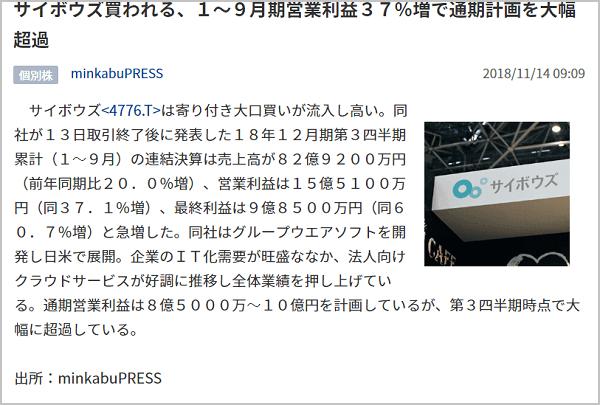 雅投資顧問 サイボウズ(4776) ニュース|2018年11月14日