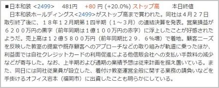 VIP投資顧問 日本和装 ストップ高ニュース②