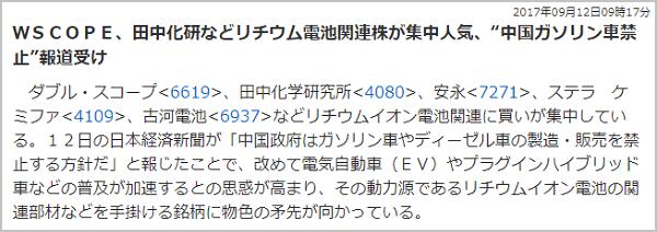 TMJ投資顧問 田中化学研究所(4080) リチウム電池関連銘柄人気化