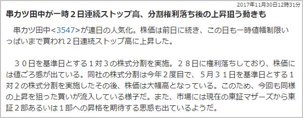 TMJ投資顧問 串カツ田中(3547) S高