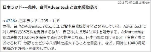 十十八株式情報 無料銘柄 評判 被害 日本ラッド(4736)急伸理由