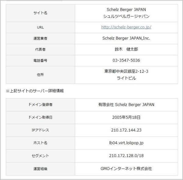 シュルツ・ベルガージャパン 評判 検証 悪徳 詐欺 情報支援事務所のサイト