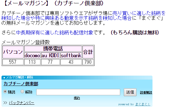 カプチーノ倶楽部 メールマガジン登録