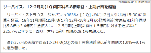 雅投資顧問 リーバイ・ストラウス ジャパン(9836) 決算