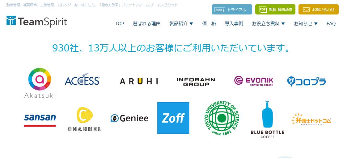 株式会社チームスピリット HP画像