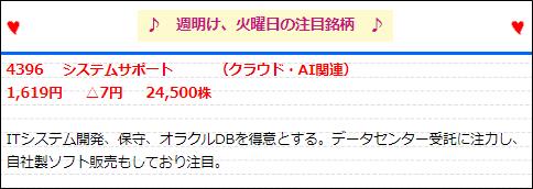 イーキャピタル  9月13日注目銘柄 システムサポート(4396)
